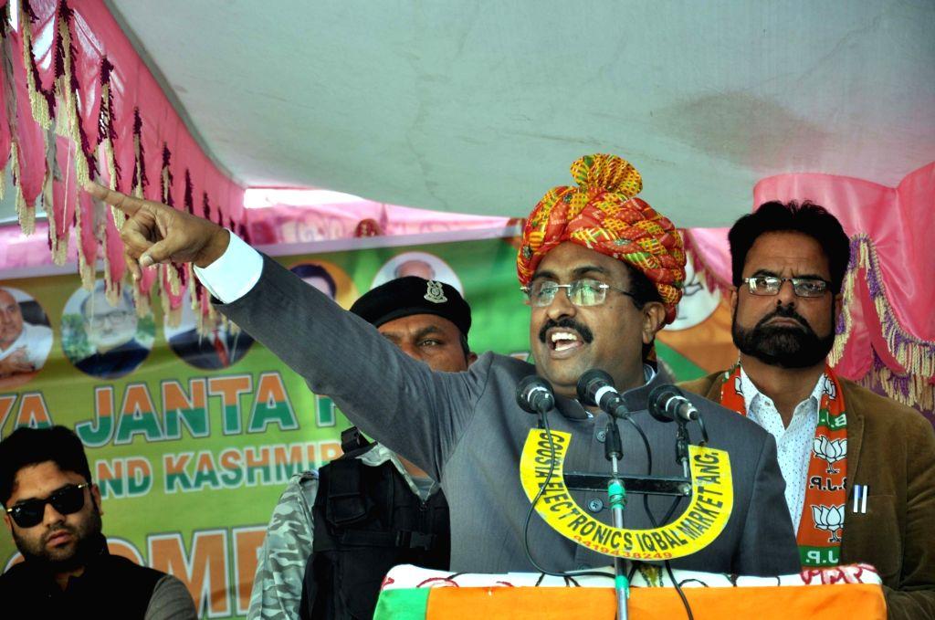 BJP General Secretary Ram Madhav addresses a public rally at Dak Bunglow in Jammu and Kashmir's Anantnag, on April 27, 2019.