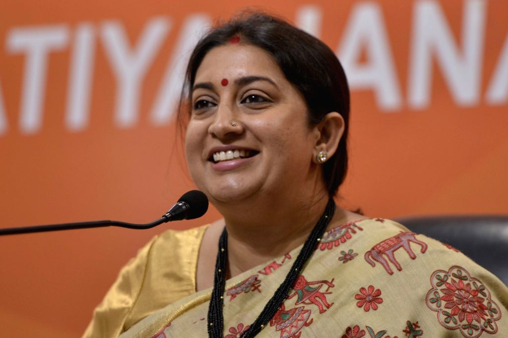 BJP leader and Union Information and Broadcasting (I&B) Minister Smriti Irani addresses during a press conference at BJP office in New Delhi on Sept 12, 2017. - Smriti Irani