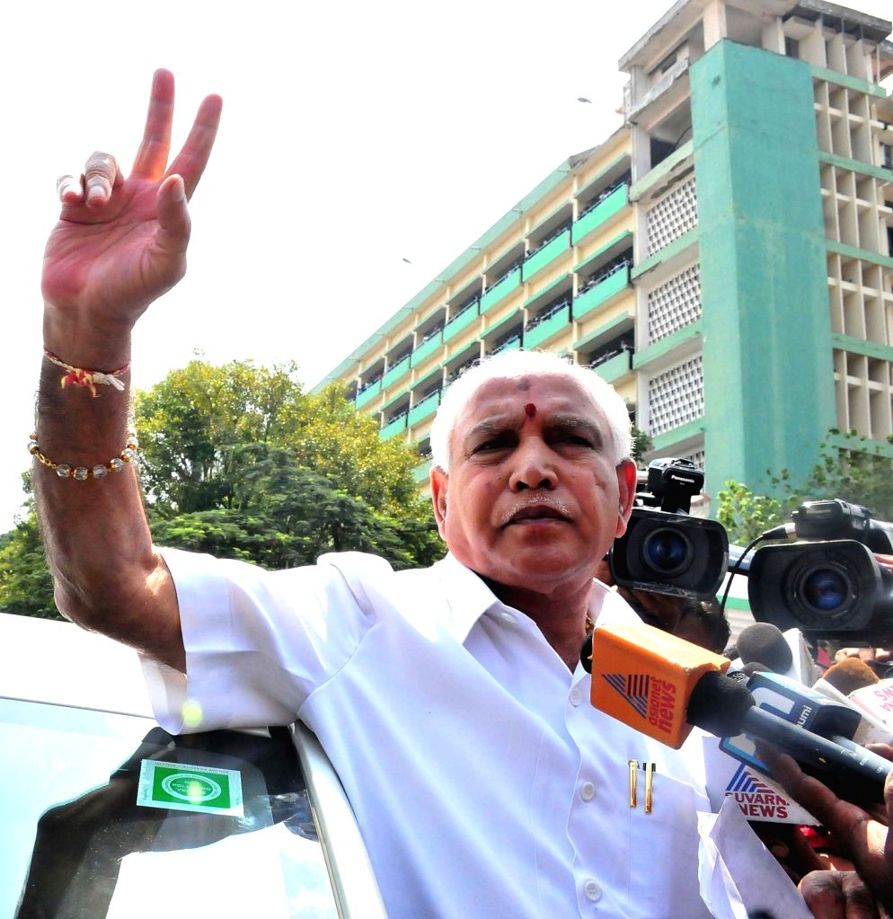 BJP leader B S Yeddyurapppa  after getting acquitted by a Special CBI court in a bribery case in Bengaluru on Oct 26, 2016.