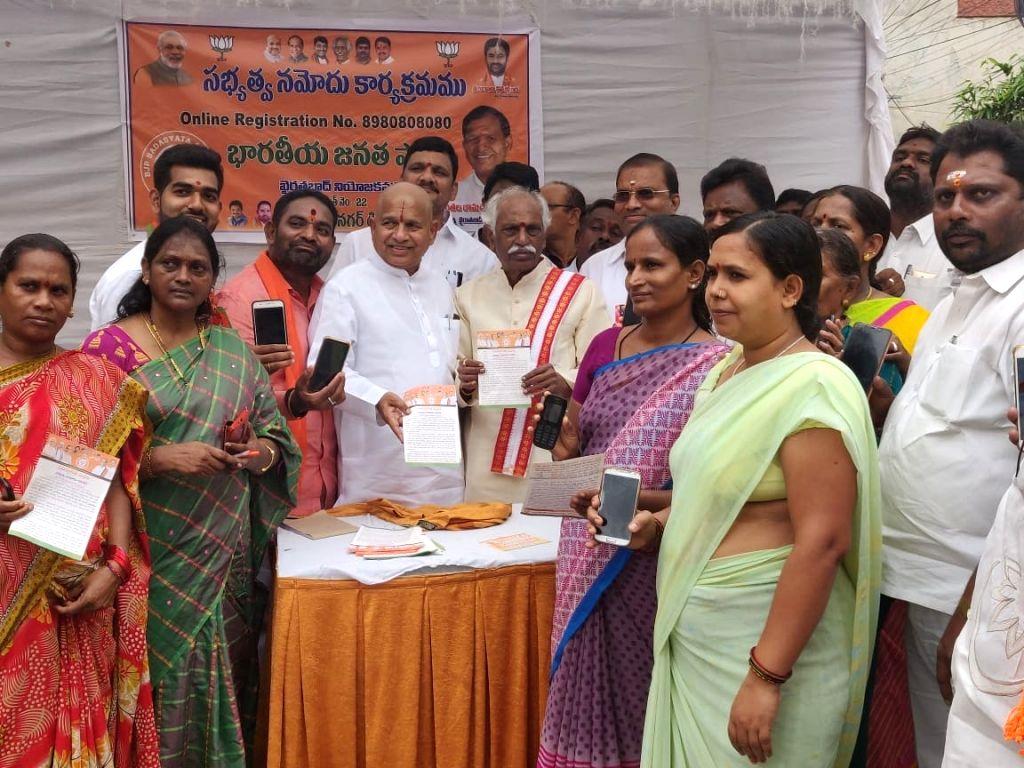 BJP leader Bandaru Dattatreya during the party's Membership drive, in Hyderabad on July 19, 2019.