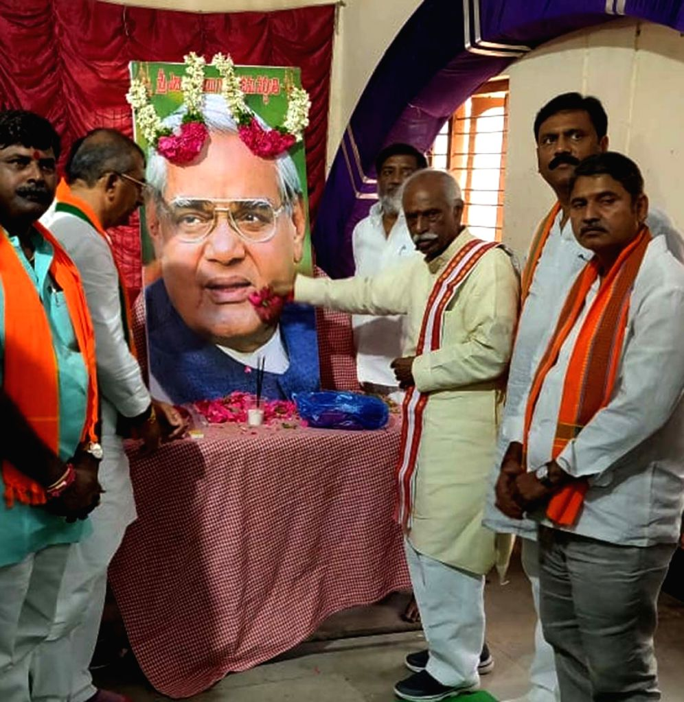 BJP leader Bandaru Dattatreya pays tributes to Former Prime Minister Atal Bihari Vajpayee on his first death anniversary, in Hyderabad, on Aug 16, 2019. - Atal Bihari Vajpayee