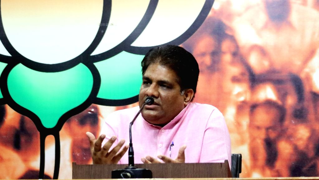 BJP leader Bhupendra Yadav address a press conference in New Delhi, on June 1, 2016. - Bhupendra Yadav