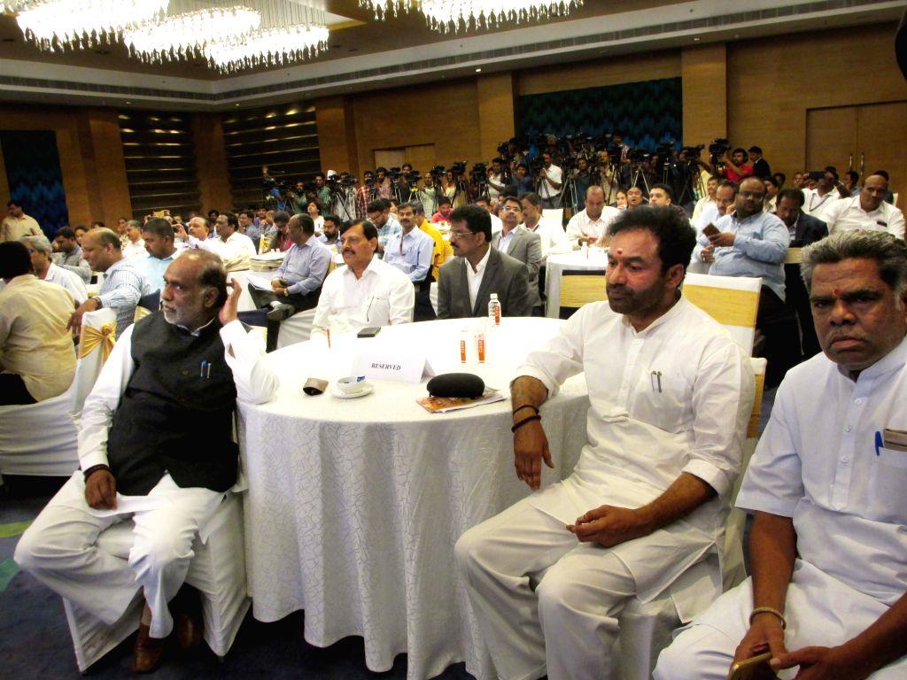 BJP leader G. Kishan Reddy during a press conference on '8 Months Of Transforming India' addressed by Union Electronics and Information Technology Minister Ravi Shankar Prasad, in ... - Ravi Shankar Prasad and G. Kishan Reddy