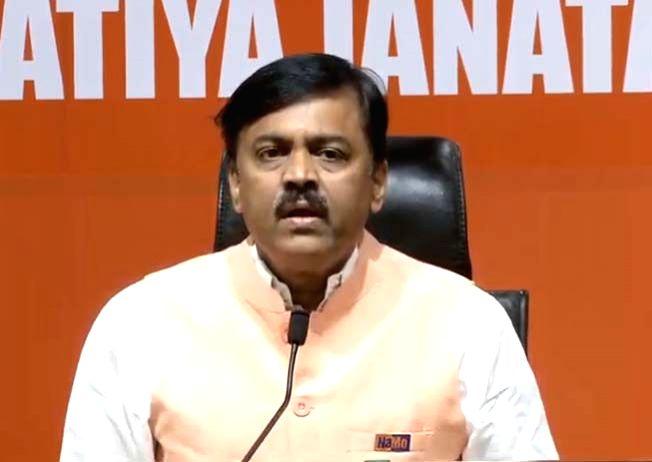 BJP leader G.V.L. Narasimha Rao addresses a press conference at the party's headquarter in New Delhi, on May 2, 2019. - L. Narasimha Rao
