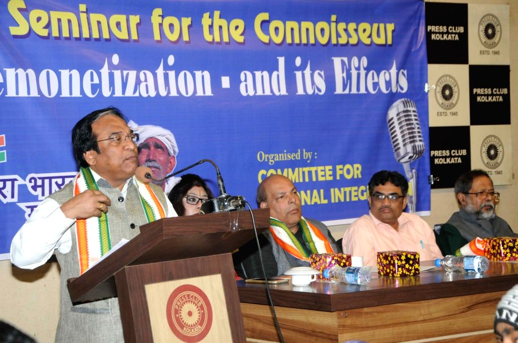 BJP leader Jay Prakash Majumdar, Om Prakash Mishra of Congress, CPI-M leader Manab Mukherjee and academician Kiran Shankar Chanda participate in a panel discussion on demonetisation at Press ... - Prakash Mishra and Manab Mukherjee