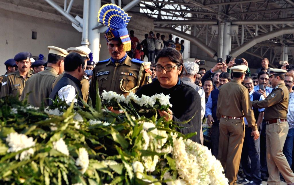 BJP leader Locket Chatterjee lays wreath at the coffins of martyrs Bablu Santra and Sudip Biswaws, who were among the 49 CRPF men killed in 14 Feb Pulwama militant attack at Netaji Subhas ... - Chatterjee