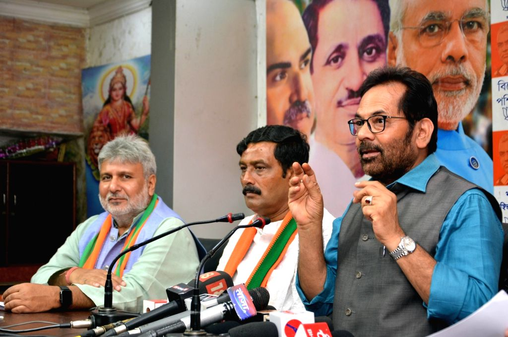 BJP leader Mukhtar Abbas Naqvi addresses a press conference, in Kolkata, on May 12, 2019.