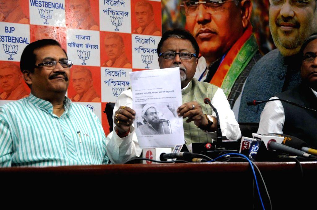BJP leader Mukul Roy addresses a press conference in Kolkata on March 4, 2019. - Mukul Roy