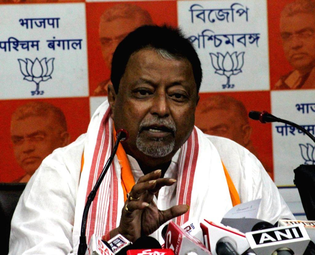 BJP leader Mukul Roy addresses a press conference in Kolkata, on May 10, 2019. - Mukul Roy