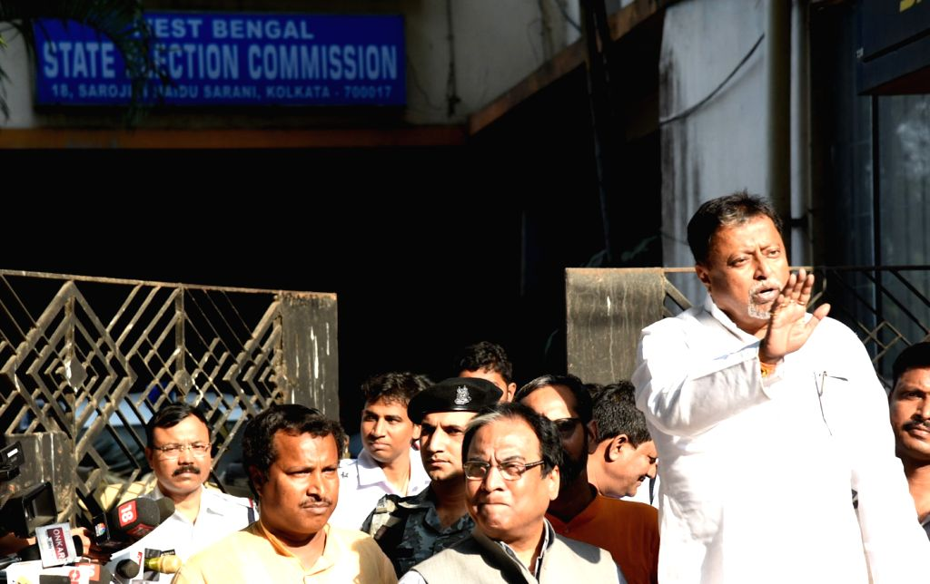 BJP leader Mukul Roy comes out after meeting West Bengal State Election Commissioner in Kolkata, on April 4, 2018. - Mukul Roy