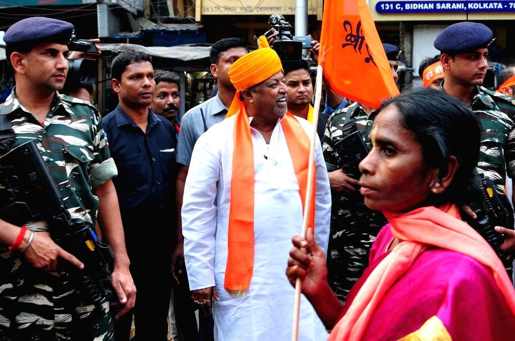 BJP leader Mukul Roy during party rally on Ram Navami in Kolkata, on March 25, 2018. - Mukul Roy
