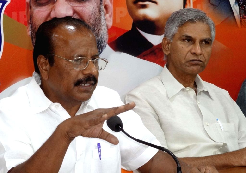 BJP leader N Indrasena Reddy addresses a press conference in Hyderabad on June 3, 2017. - N Indrasena Reddy