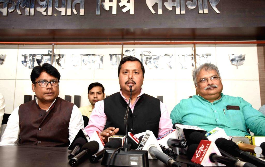 BJP leader Nitin Navin addresses a press conference in Patna on Feb 23, 2019.