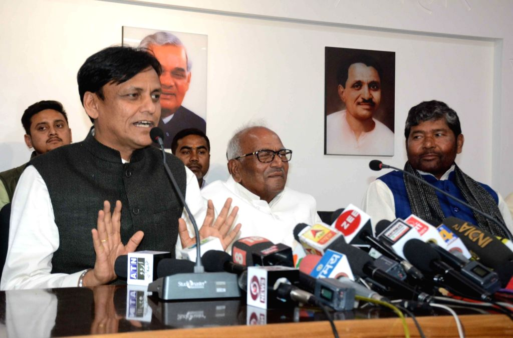 BJP leader Nityanand Rai addresses a press conference in Patna, on March 1, 2019. - Nityanand Rai