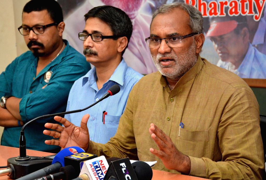 BJP leader P. Chandrasekhar during a press conference regarding recent BTAD violence, in Guwahati on May 11, 2014.
