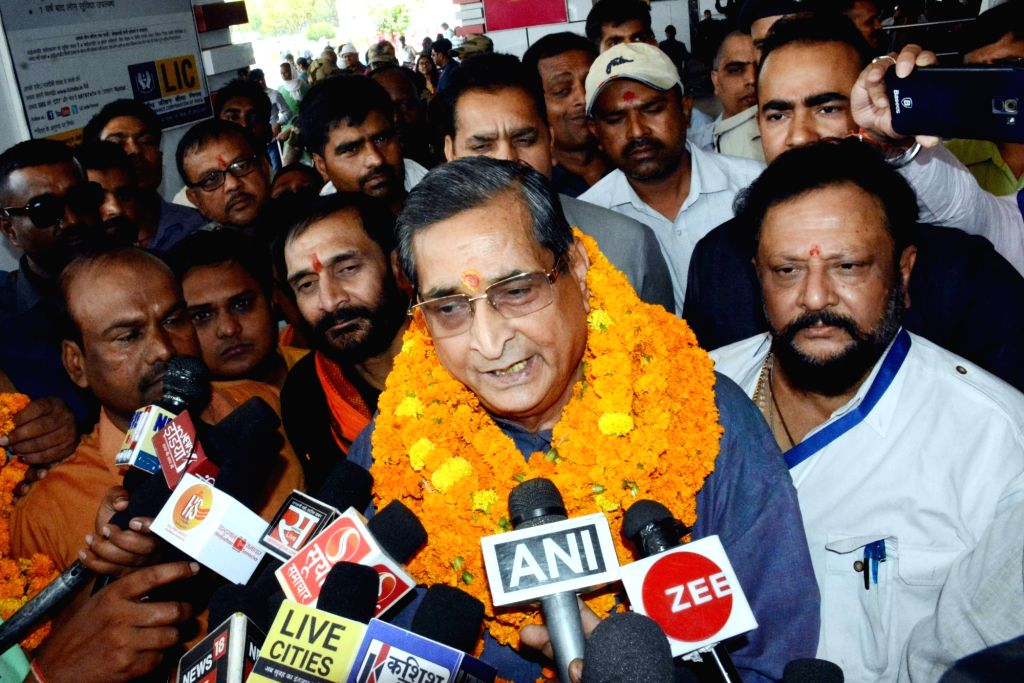 BJP leader R.K. Sinha talks to media persons at Jay Prakash Narayan International Airport in Patna, on May 11, 2019. - K. Sinha