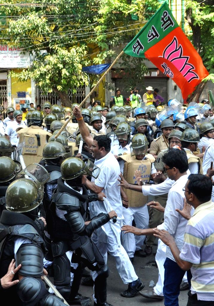 BJP leader Rahul Sinha during a protest against the law and order situation in West Bengal and fake cases lodged against their party workers among other issues in Lalbazar of Kolkata on May ... - Rahul Sinha