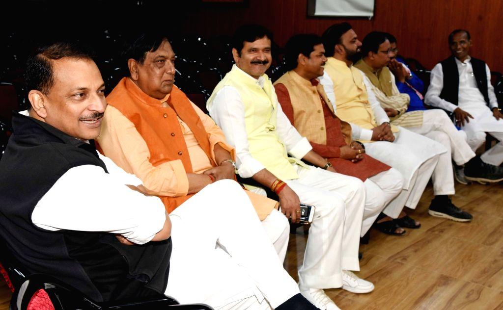 BJP leader Rajiv Pratap Rudy with other leaders of the party during Bihar BJP election committee meeting in Patna, on March 14, 2019.