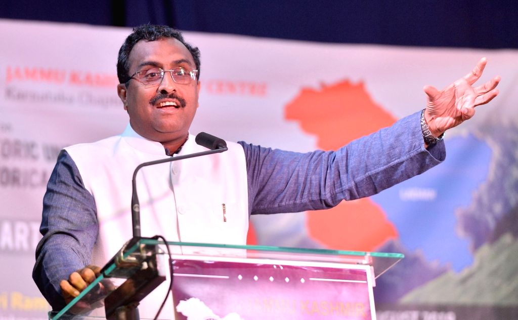 BJP leader Ram Madhav addresses during a programme in Bengaluru on Aug 10, 2019.