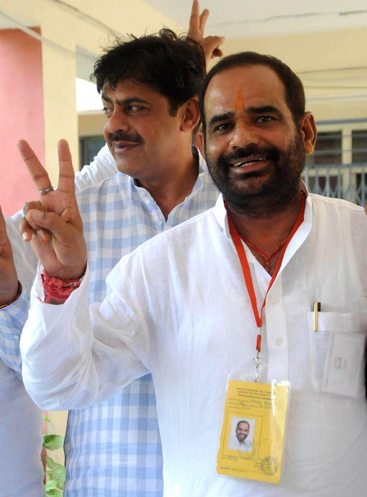 BJP leader Ramesh Bidhuri after winning South Delhi Parliamentary constituency in New Delhi on May 16, 2014.