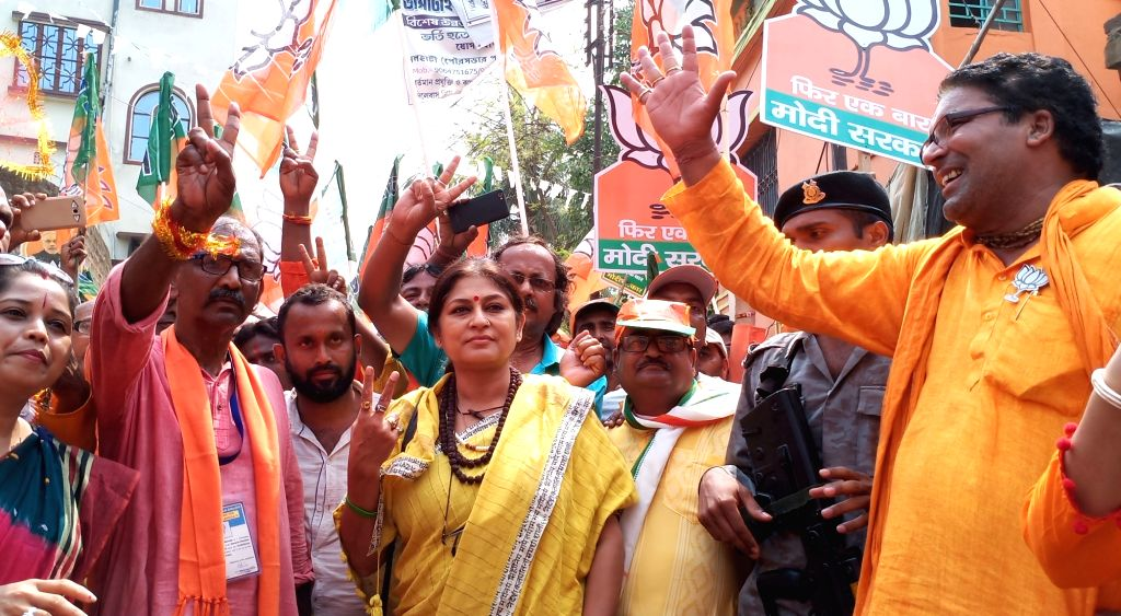 BJP leader Rupa Ganguly during a road show in Birbhum Lok Sabha constituency of West Bengal on April 26, 2019.