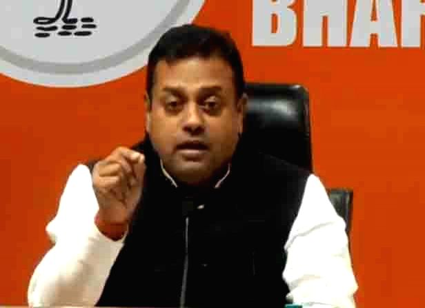 BJP leader Sambit Patra addresses a press conference at the party's headquarter in New Delhi, on May 10, 2019.