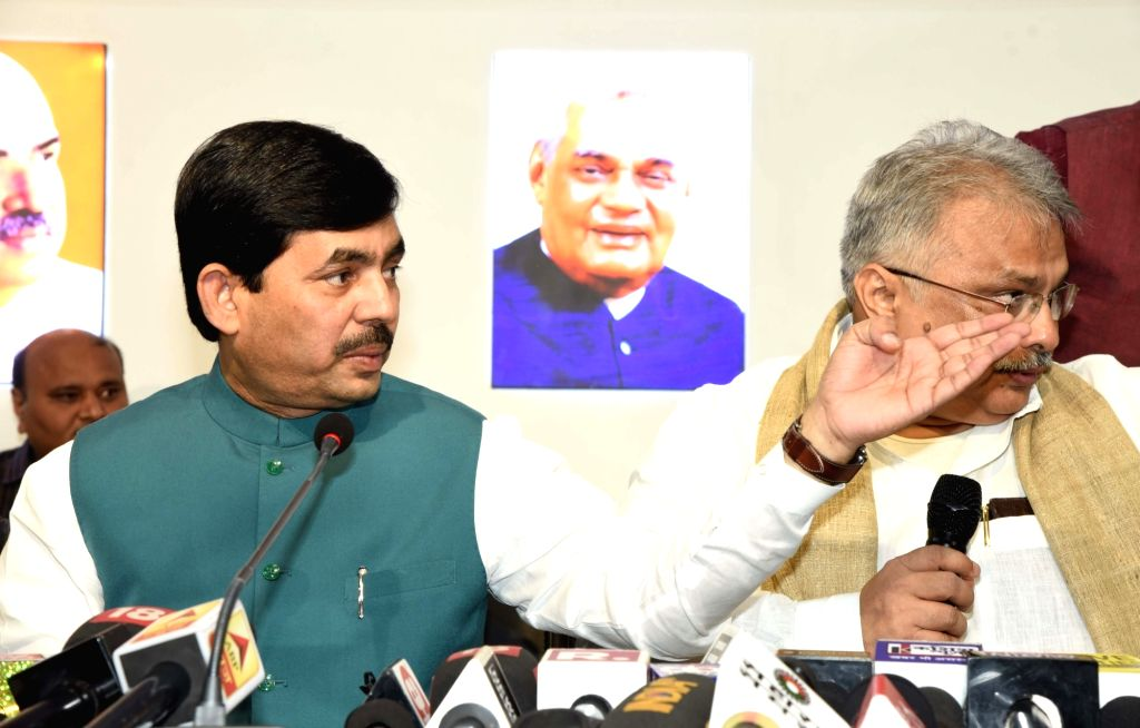 BJP leader Shahnawaz Hussain addresses a press conference in Patna on Nov 15, 2019.