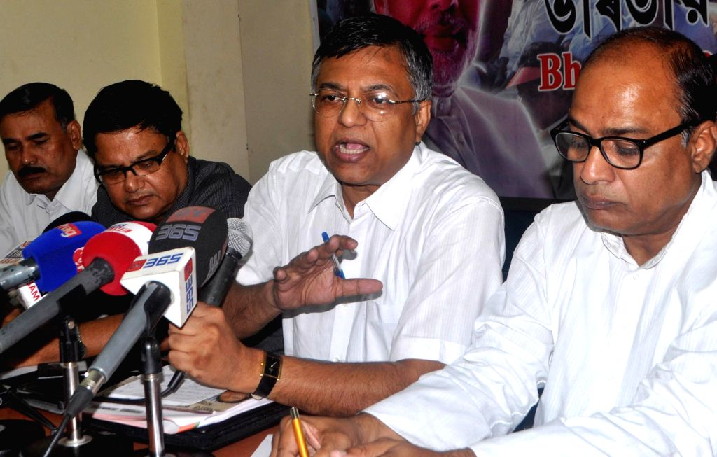 BJP leader Siddhartha Bhattacharjee addresses a press conference in Guwahati on July 18, 2014.