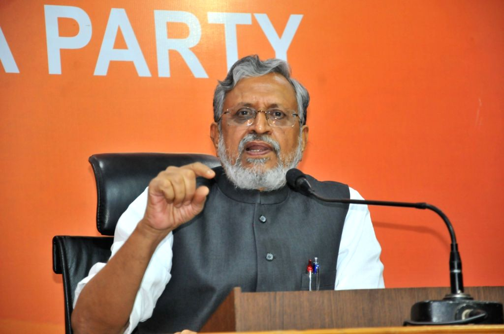 BJP leader Sushil Kumar Modi address a press a conference in New Delhi, on July 5, 2017. - Sushil Kumar Modi
