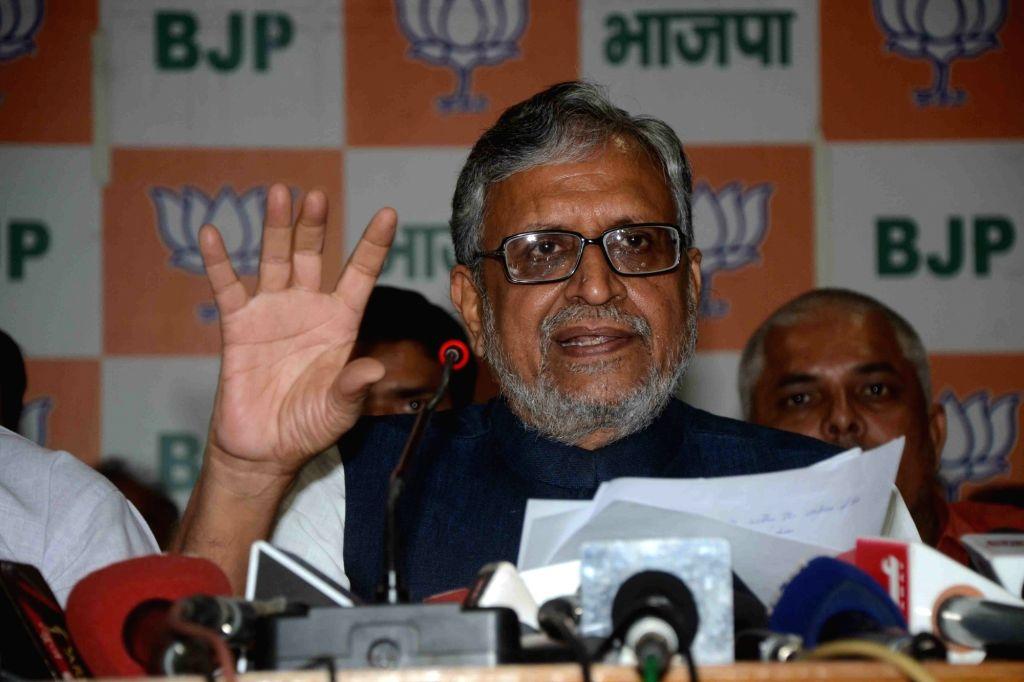 BJP leader Sushil Kumar Modi addresses a press conference in Patna on Oct 1, 2016. - Sushil Kumar Modi