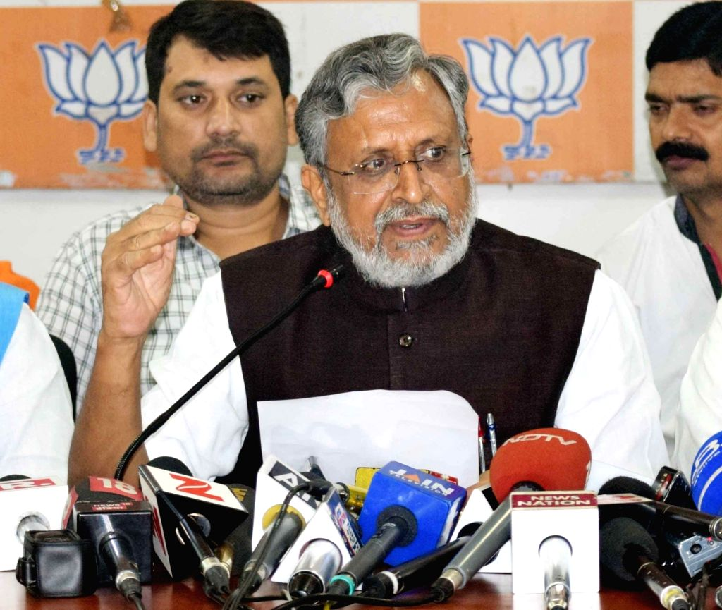 BJP leader Sushil Kumar Modi addresses a press conference in Patna on July 6, 2017. - Sushil Kumar Modi