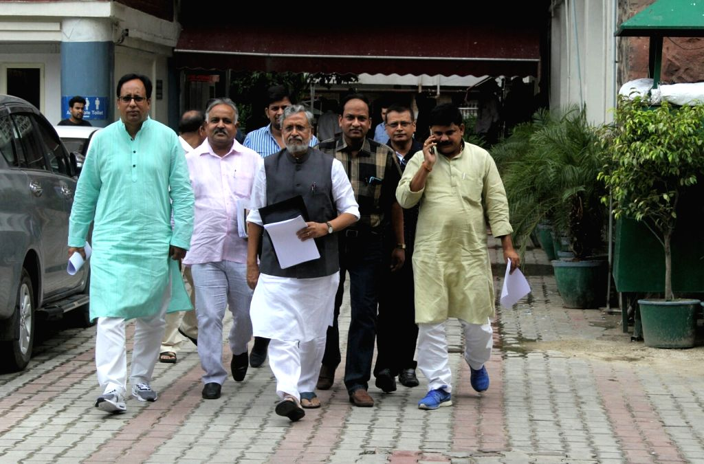 BJP leader Sushil Kumar Modi comes out after meeting Chief Election Commissioner Nasim Zaidi in New Delhi, on July 3, 2017. - Sushil Kumar Modi
