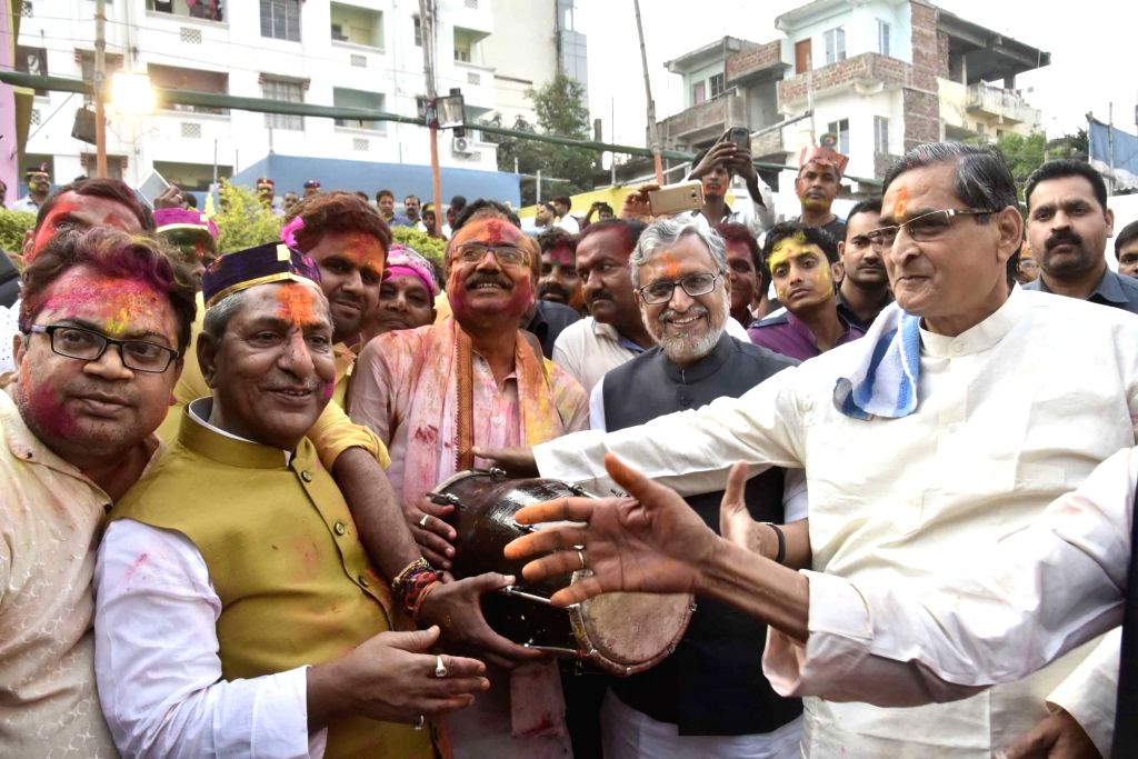 BJP leader Sushil Kumar Modi during a 'Holi Milan Samaroh' in Patna on March 10, 2017. - Sushil Kumar Modi
