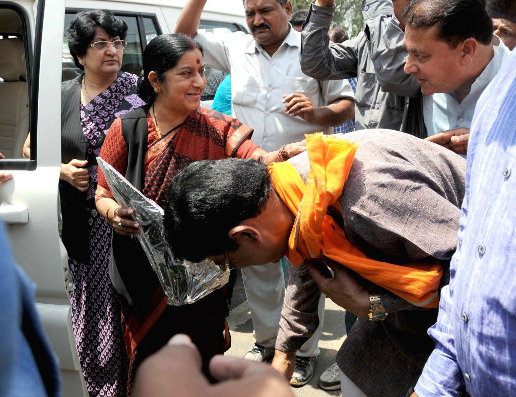 BJP leader Sushma Swaraj during a public meeting in Vidhisha Constituency, Madhya Pradesh on April 19, 2014.