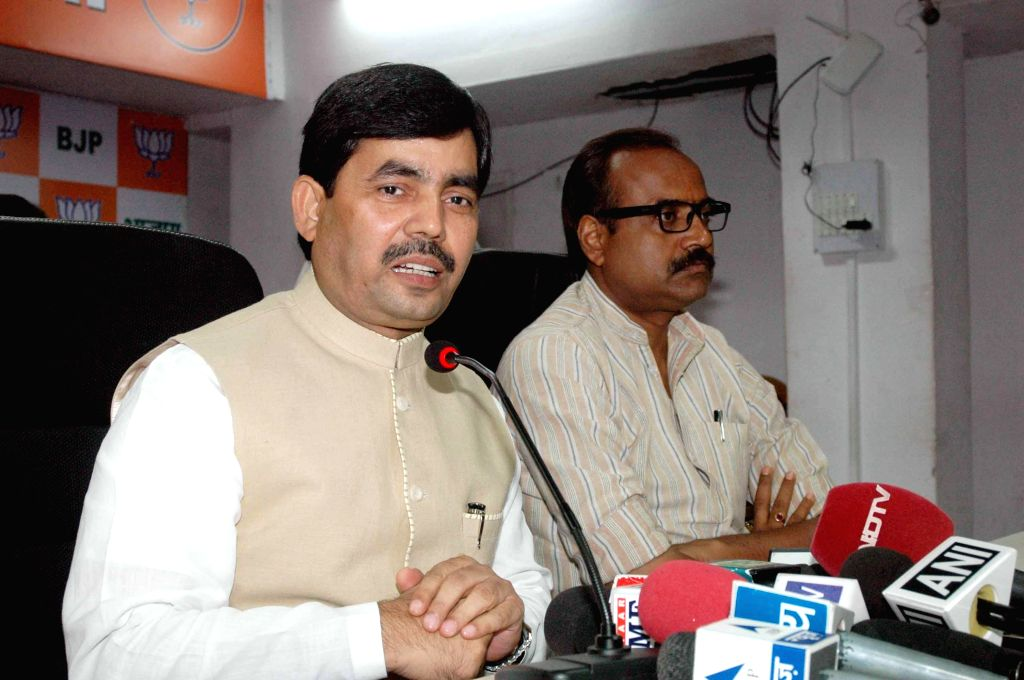 BJP leader Syed Shahnawaz Hussain addresses a press conference in Patna on July 27, 2014.
