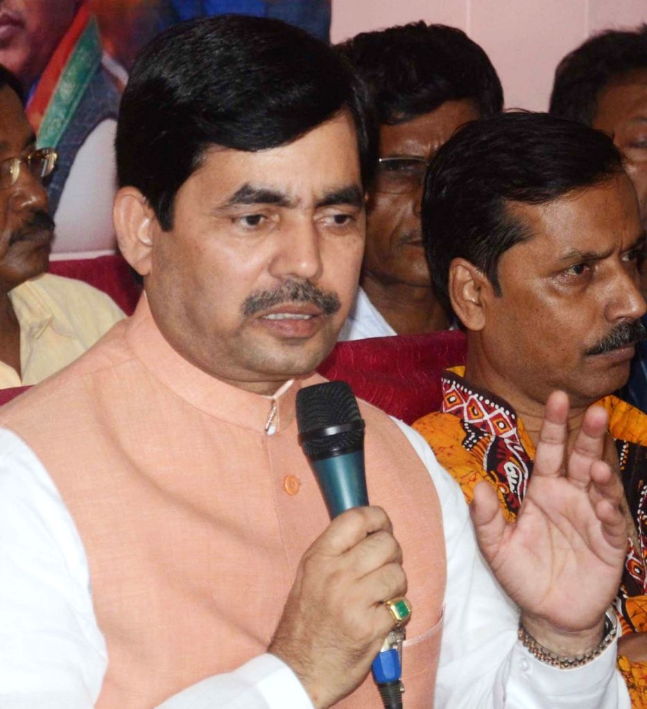 BJP leader Syed Shahnawaz Hussain addresses a press conference in Kolkata on April 11, 2017.
