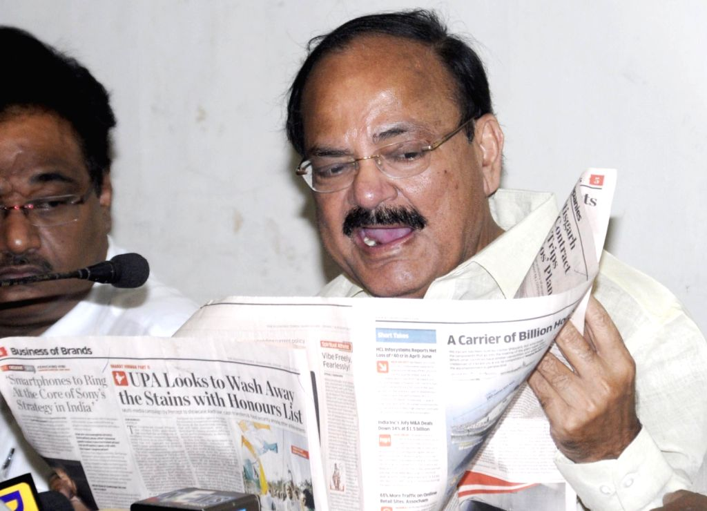 BJP leader Venkaiah Naidu during a press conference in Kolkata on August 16, 2013. (Photo::: IANS)