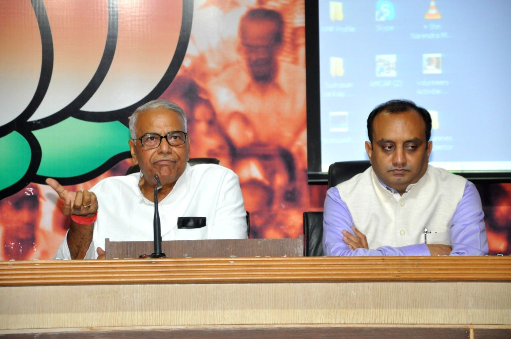 BJP leader Yashwant Sinha during a press conference in New Delhi on May 5, 2014.