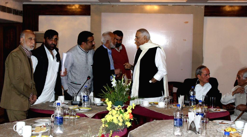 BJP leader Yashwant Sinha leads a five member delegation to meet the members of civil society in Srinagar, on Oct 26, 2016. The delegation comprises of former bureaucrat Wajahat Habibullah, ... - Yashwant Sinha