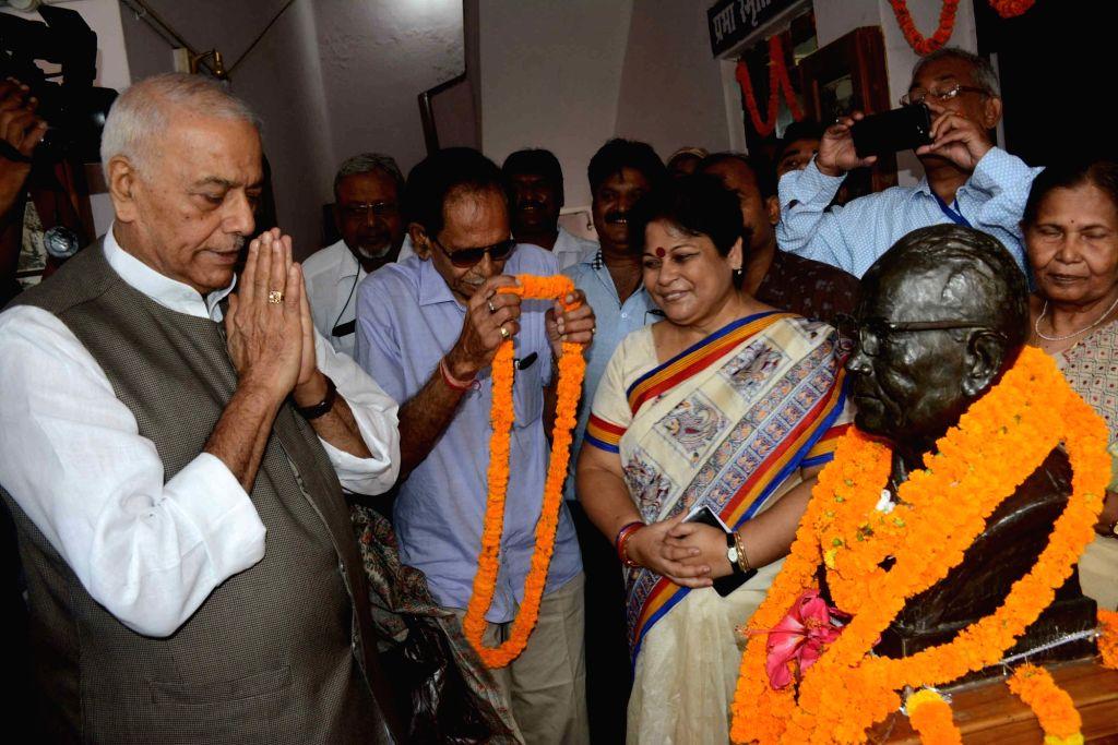 BJP leader Yashwant Sinha pays tribute to Jayaprakash Narayan on his birth anniversary in Patna on Oct 11, 2017. - Yashwant Sinha