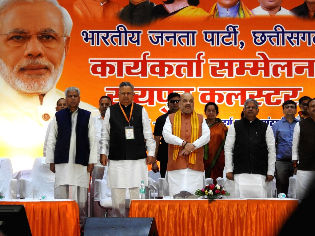 BJP leaders Amit Shah, Raman Singh, Ram Lal and others during a party programme in Budhapara, Raipur on March 7, 2019. - Amit Shah and Raman Singh