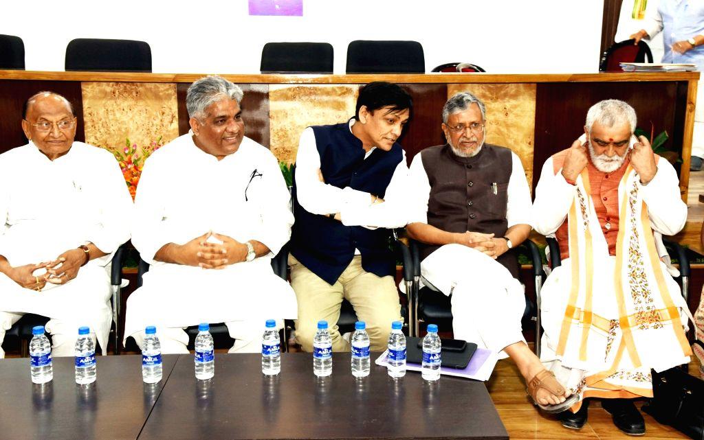 BJP leaders C. P. Thakur, Bhupender Yadav, Nityanand Rai, Sushil Kumar Modi and Ashwini Kumar Choubey during Bihar BJP election committee meeting in Patna, on March 14, 2019. - Bhupender Yadav, Nityanand Rai, Sushil Kumar Modi and Ashwini Kumar Choubey