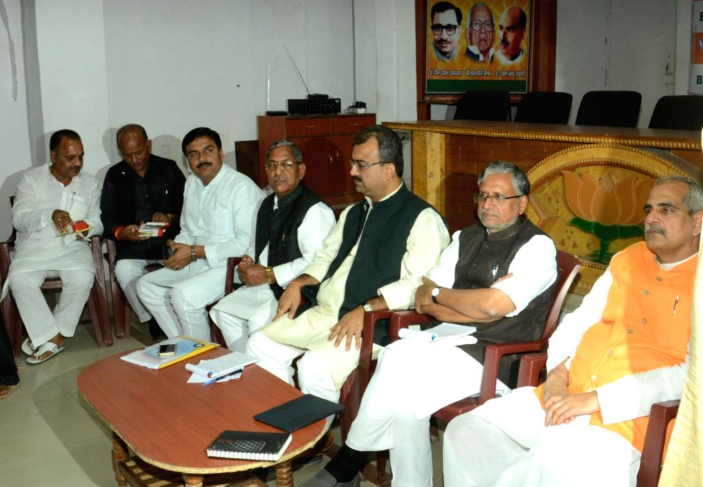 BJP leaders during a meeting to analyse its rout in Bihar assembly polls at party office in Patna on Nov 21, 2015.