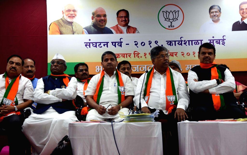 BJP leaders Eknath Khadse, Haribhau Bagade, Vinay Puranik, Chandrakant Bacchu Patil and Devendra Fadnavis during a workshop organised by the party, in Mumbai on Nov 15, 2019. - Chandrakant Bacchu Patil