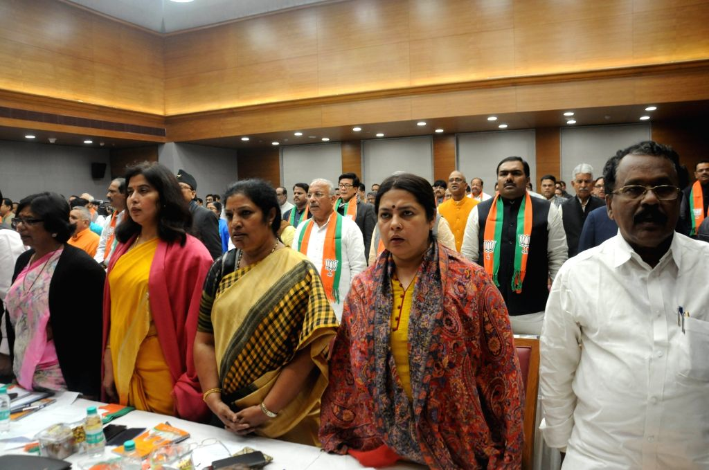 BJP leaders including party MP Meenakshi Lekhi during a party meeting in New Delhi on Dec 13, 2018.