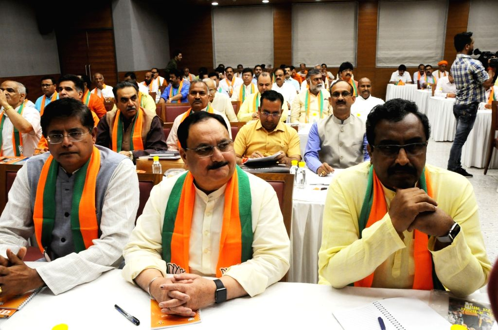 BJP leaders J.P. Nadda and Ram Madhav during a meeting of the party's national office-bearers including state chiefs chaired by Union Home Minister and BJP President Amit Shah to discuss ... - Amit Shah