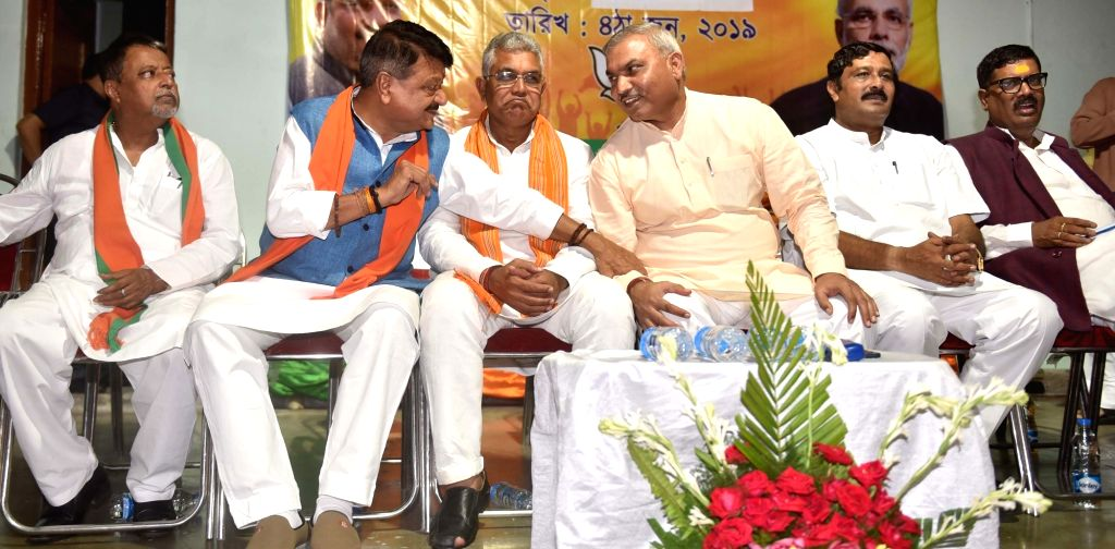 BJP leaders Mukul Roy, Kailash Vijayvargiya, Dilip Ghosh and Rahul Sinha at a party meeting in Kolkata, on June 4, 2019. - Mukul Roy, Dilip Ghosh and Rahul Sinha