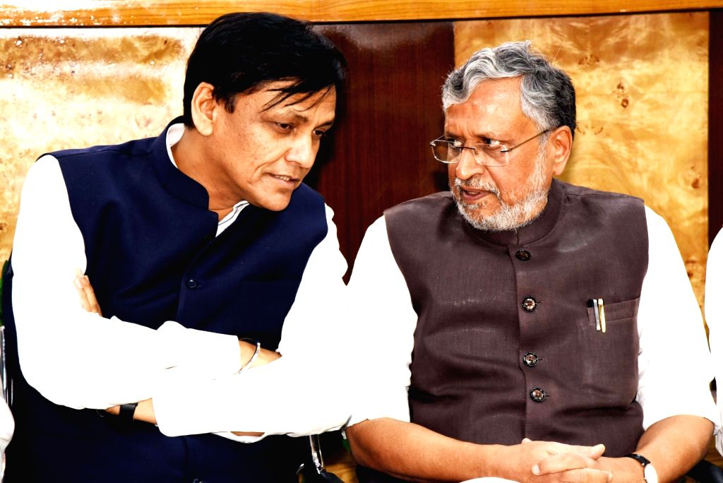 BJP leaders Nityanand Rai and Sushil Kumar Modi during the party's Bihar  election committee meeting in Patna, on March 14, 2019. - Nityanand Rai and Sushil Kumar Modi