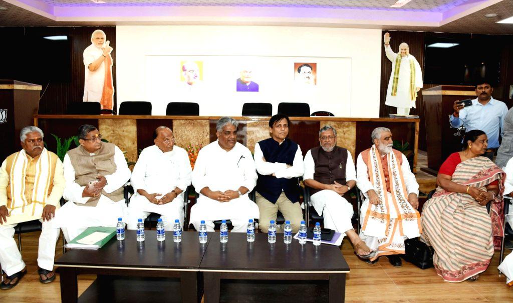 BJP leaders Prem Kumar, R.K. Sinha, C. P. Thakur, Bhupender Yadav, Nityanand Rai, Sushil Kumar Modi and Ashwini Kumar Choubey during Bihar BJP election committee meeting in Patna, on March 14, ... - Prem Kumar, K. Sinha, Bhupender Yadav, Nityanand Rai, Sushil Kumar Modi and Ashwini Kumar Choubey