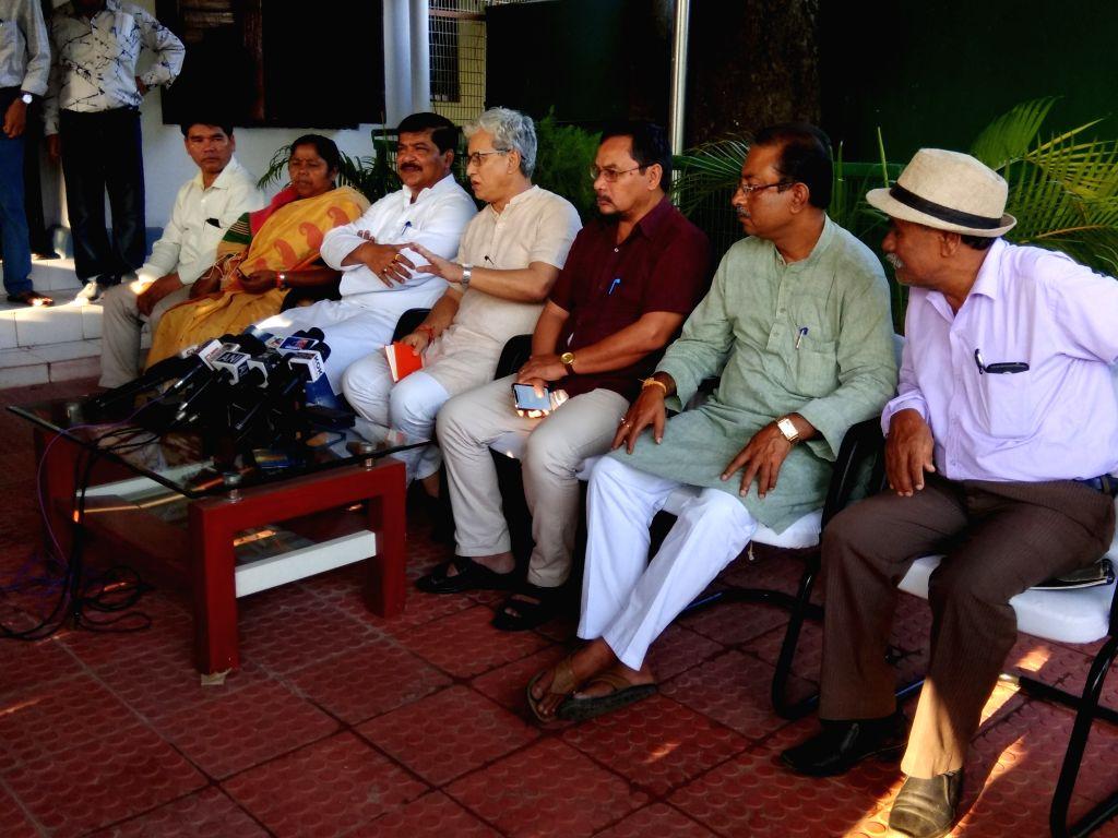BJP leaders - Tripura Deputy Chief Minister Jishnu Deb Barman and Cabinet Minister Sudip Roy Barman and Indigenous People's Front of Tripura (IPFT) leader and Cabinet Minister Mevar Kumar ... - Jishnu Deb Barman, Sudip Roy Barman and Mevar Kumar Jamatia